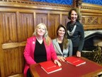 From left, Pink Shoe Club Helene Martin Gee, joins Women Impacting Public Policy Chair of the Board Jennifer Bisceglie (center) and WIPP Founder and President Barbara Kasoff, in London to sign agreement to launching WIPP International. Bisceglie will serve as President of WIPP International.
