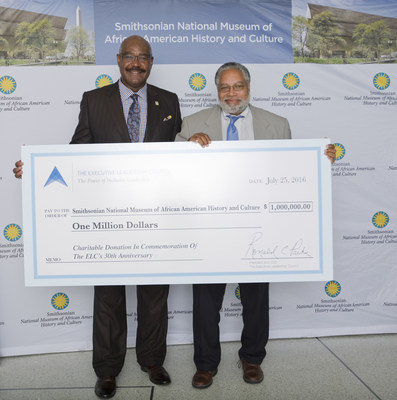 The Executive Leadership Council (ELC) donates one million dollars to the Museum of African American History and Culture (NMAAHC) in Washington, D.C. (l-r) ELC President & CEO Ronald C. Parker and Lonnie G. Bunch III, Director, NMAAHC. (Photo by Leah L. Jones/for NMAAHC)