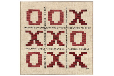 """'Tic Tac Toe': A cross-stitching artwork from the U.S., symbolic of life with Crohn's Disease (CD). Much like a game, CD is a disease through which there are personal wins, losses and draws. Words like hope, strength, endurance, courage, ache and """"ow"""" illustrate the range of emotions experienced while on the road from awareness to diagnosis - noting that while one does not always win at the game of life or CD, one still has to play. Artist: Barbara Miller. (PRNewsFoto/AbbVie) (PRNewsFoto/ABBVIE)"""