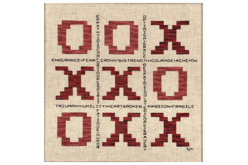 "'Tic Tac Toe': A cross-stitching artwork from the U.S., symbolic of life with Crohn's Disease (CD). Much like a game, CD is a disease through which there are personal wins, losses and draws. Words like hope, strength, endurance, courage, ache and ""ow"" illustrate the range of emotions experienced while on the road from awareness to diagnosis - noting that while one does not always win at the game of life or CD, one still has to play. Artist: Barbara Miller. (PRNewsFoto/AbbVie) (PRNewsFoto/ABBVIE)"