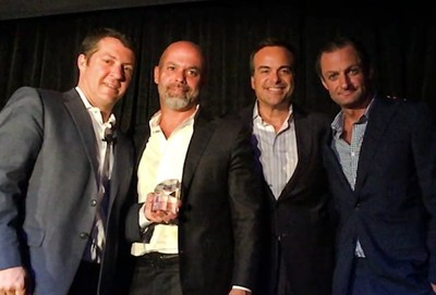 Republica, one of America's leading and fastest-growing independent advertising and communications agencies, was named Small Agency of the Year in the Southeast region, silver medal, by Advertising Age (Ad Age). Caption from left to right: Ad Age Editor Ken Wheaton; Co-founder, President & CCO of Republica, Luis Casamayor; Co-founder, Chairman & CEO of Republica Jorge A. Plasencia and Executive Vice President & General Manager of Republica, Anthony Bianco.