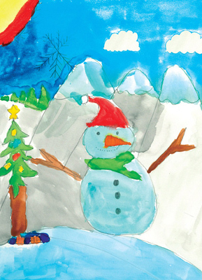 Living in Florida doesn't stop Drecari, age 8, from dreaming of a winter wonderland. His artwork entitled 'Snowman (100 Days of Christmas)' is just one of the charming holiday card designs available at St. Joseph's Children's Hospital this season.  (PRNewsFoto/St. Joseph's Children's Hospital)