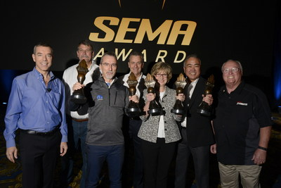 2016 SEMA Show Hottest Vehicle Award Winners with SEMA From L to R: Chris Kersting, SEMA President and CEO; Doug Evans, SEMA Chairman of the Board, Director of New Business Development Bonnier Corporation; Pietro Gorlier, Head of Parts and Service, MOPAR FCA-Global; Judy Curran , Ford Director for Engineering, Planning and Strategy, SEMA Chairman-Elect Wade Kawasaki, President, Coker Group Nate Shelton,Former SEMA Chairman of the Board, Board Director, Driven Performance Brands