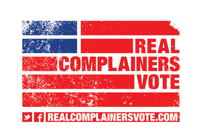 A frame from the viral video Real Complainers Vote that encourages Americans to vote - then complain. The video, created by Third Street Advertising and Foundation Content, narrated by comedian TJ Miller and featuring the creations of acclaimed street artist Ray Noland, makes a compelling argument that complaining and voting are essentially and historically bound together.  (PRNewsFoto/Third Street)