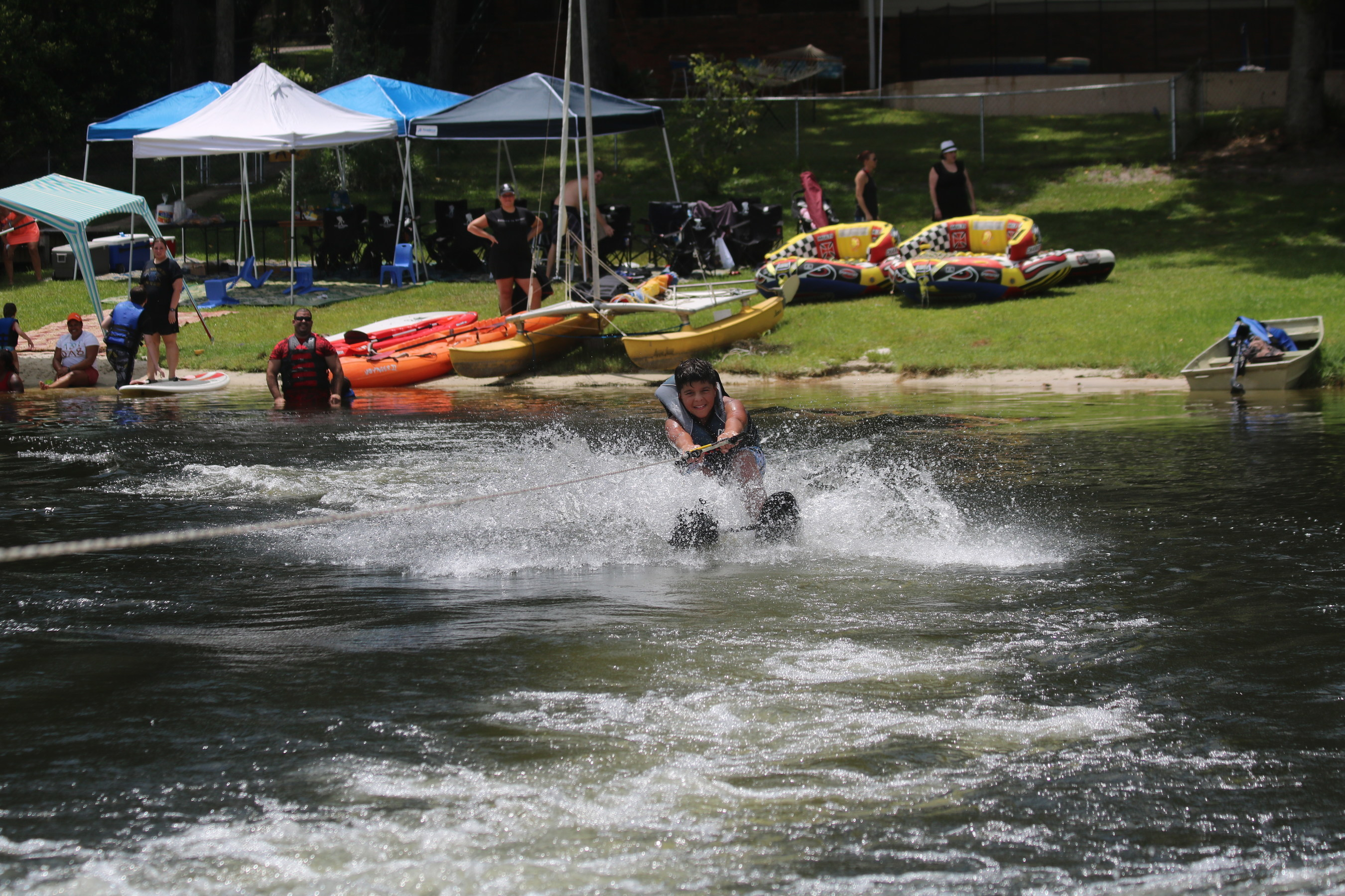 At a recent Wounded Warrior Project event, veterans and family members enjoyed a day of fun at a Melrose, Fla. lake house, including water skiing and kayaking.