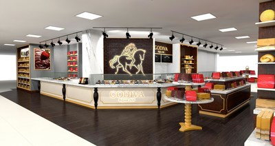 Rendering of new GODIVA boutique at Macy's Herald Square