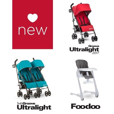 Newborn ready umbrella strollers and high chairs with near-flat reclining seats, comfortable seating, and compact folds.
