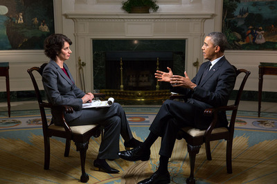 President Barack Obama participates in an Affordable Care Act interview with Lisa Zamosky for WebMD in the Diplomatic Reception Room of the White House, March 12, 2014. (Official White House Photo by Lawrence Jackson).  (PRNewsFoto/WebMD Health Corp.)