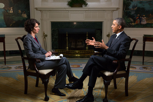 President Barack Obama participates in an Affordable Care Act interview with Lisa Zamosky for WebMD in the ...