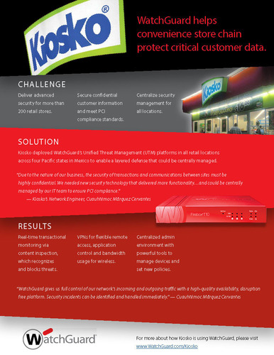 Super Kiosko, Mexico's leading convenience store chain, protects critical consumer data at more than 200 ...