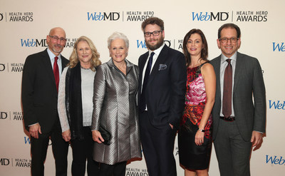 President WebMD Steve Zatz, Jessie Close,  WebMD Health Hero People's Choice Award Winner Glenn Close, Seth Rogen, WebMD Editor-in-Chief Kristy Hammam, and CEO WebMD David Schlanger Attend the WebMD Health Hero Awards Gala at TimesCenter on November 5, 2015