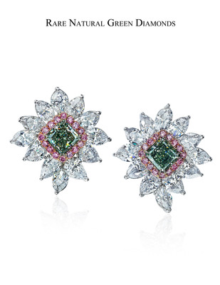 Spectacular earrings featuring a superbly matched pair of ultra-rare Fancy Intense Green Diamonds, 2.23 and 2.35 carats, GIA certified. Surrounded by Fancy Vivid Argyle Pink and White Collection Diamonds.  (PRNewsFoto/Padulo Prive, The One and Only One Collection)