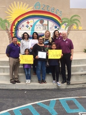 Arroyo Verde Elementary parent Angela Solis is awarded an undergraduate scholarship to attend Ashford University.