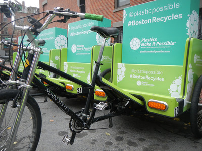 Plastics Make it Possible(R) Sends Mobile Recycling Bins To Six College Cities To Celebrate America Recycles Day.  (PRNewsFoto/Plastics Make it Possible)
