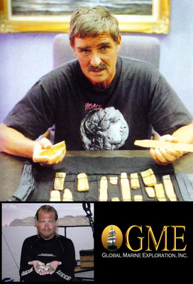 Top: Sir Robert Marx with just some of the gold recovered throughout his 5 decades of treasure salvage. Lower left: GME Chief Operations Officer Bill Seliger displaying a recent find of rare silver coins. (PRNewsFoto/Global Marine Exploration, Inc.)