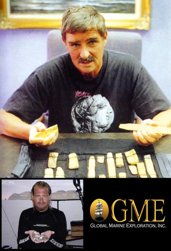 Top: Sir Robert Marx with just some of the gold recovered throughout his 5 decades of treasure salvage. Lower ...