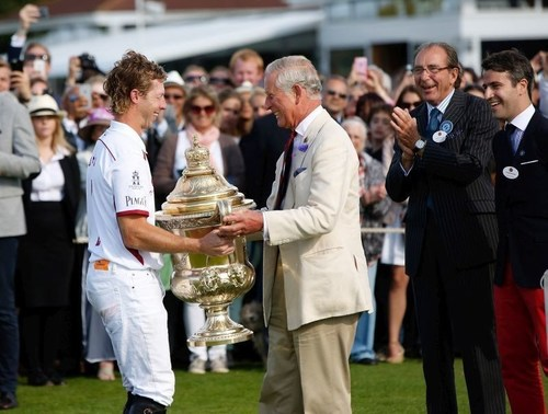 HRH Prince Charles, Prince of Wales awards The Royal Salute Coronation Cup to James Beim of England after the ...