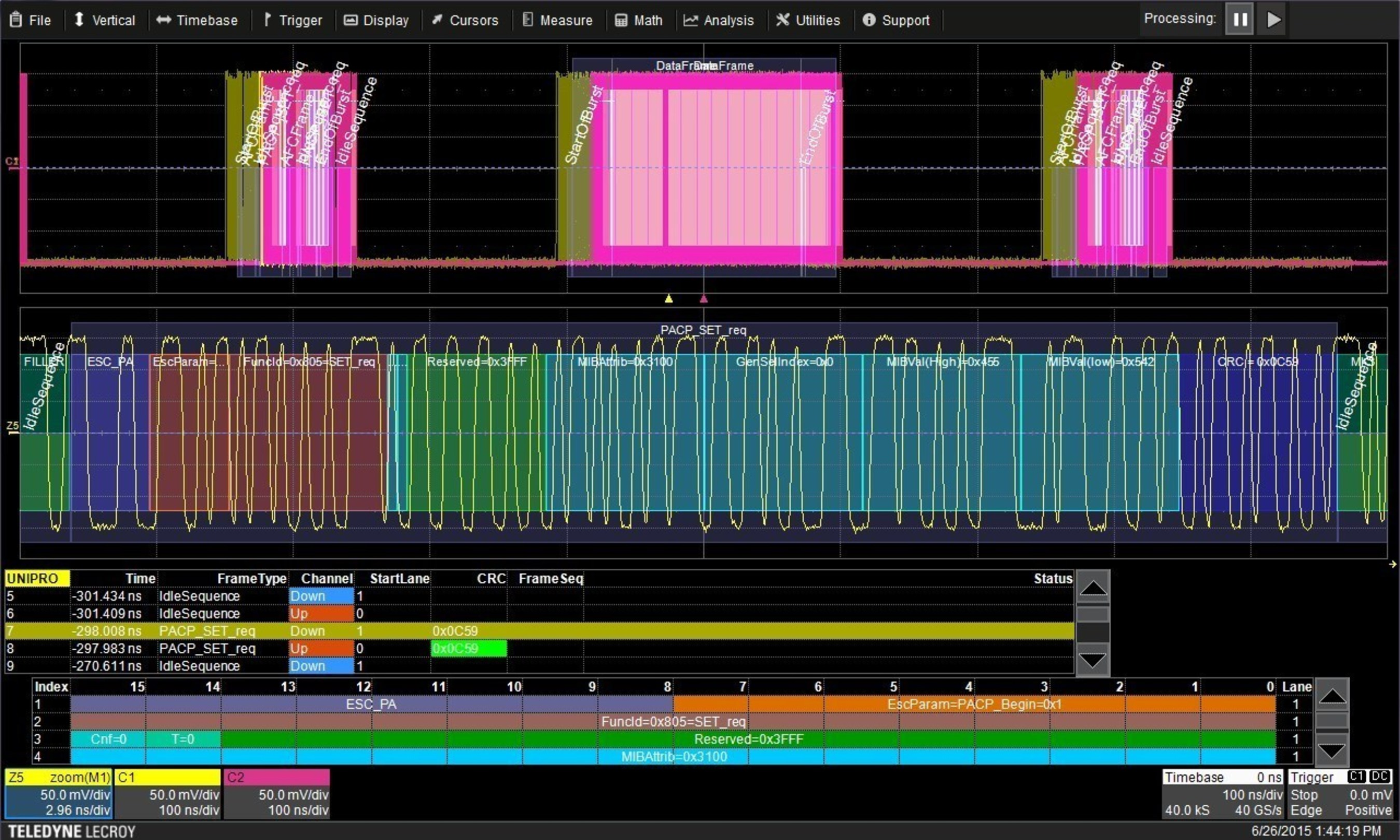 The new MIPI UniPro Protocol Decoder from Teledyne LeCroy analyzes acquired M-PHY analog waveforms and provides insight into multiple levels of UniPro protocol information.