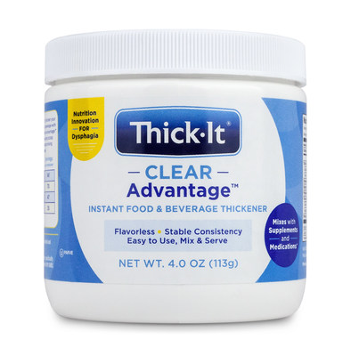 New Thick-It Clear Advantage instant food and beverage thickener supports the absorption of medications and supplements.