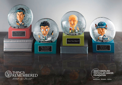 "Things Remembered takes testicular cancer by the globes with the launch of ""Man Balls."" With one man in the U.S. diagnosed with testicular cancer almost every hour, the leading national retailer of personalized gifts, is asking women to take cancer by the globes. On October 1st, Things Remembered introduces a new line of engravable, male-centric bobble-head water/snow globes, affectionately known as ""Man Balls."" $2 of every Man Ball sale will go directly to the brand's nonprofit partner, The Sean Kimerling Testicular Cancer Foundation, a nationwide organization, dedicated to raising awareness of testicular cancer and the importance of early detection.  (PRNewsFoto/Things Remembered)"