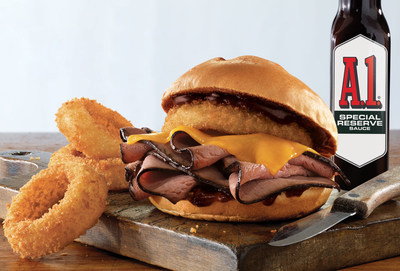 The new A.1. Special Reserve Steak Sandwich available at Arby's features sliced USDA choice, top round, Black Angus steak, melted natural cheddar cheese and a crispy thick-cut steakhouse onion ring lathered in A.1. Special Reserve sauce and crowned with a toasted star-cut specialty roll.