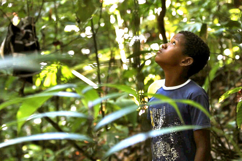 An Afro-Colombian boy looks on as his father patrols the forest.  (PRNewsFoto/Anthrotect, LLC)