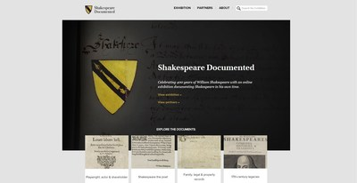 Shakespeare Documented is a new online resource sharing the manuscripts and printed books that document the life and career of William Shakespeare. (PRNewsFoto/Folger Shakespeare Library)