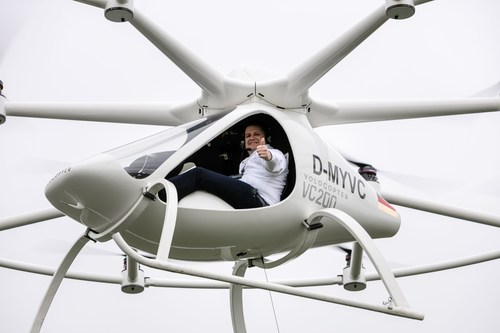 World premiere of manned flights in the Volocopter. e-volo Managing Director Alexander Zosel gives thumbs up to his team for the flight performance of the Volocopter. Location: Airfield in Southern Germany (PRNewsFoto/e-volo)