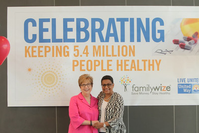 Susan Gilmore, Executive Director of Community Engagement for FamilyWize (left) and Stacey Stewart, U.S. President of United Way Worldwide announce nationwide impact.  (PRNewsFoto/FamilyWize)