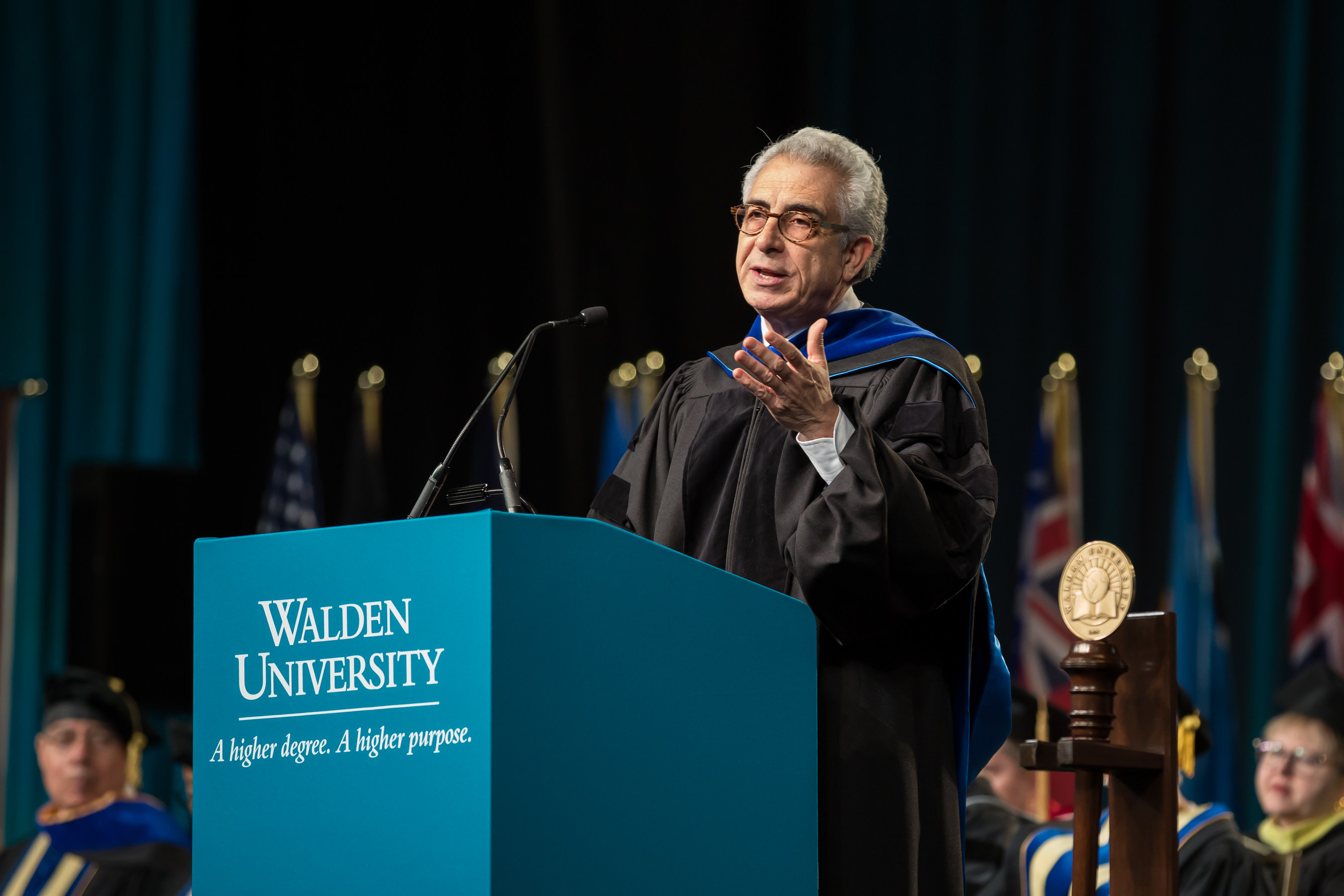 Dr. Ernesto Zedillo, former president of Mexico and Walden University commencement keynote speaker, addresses newest Walden graduates.