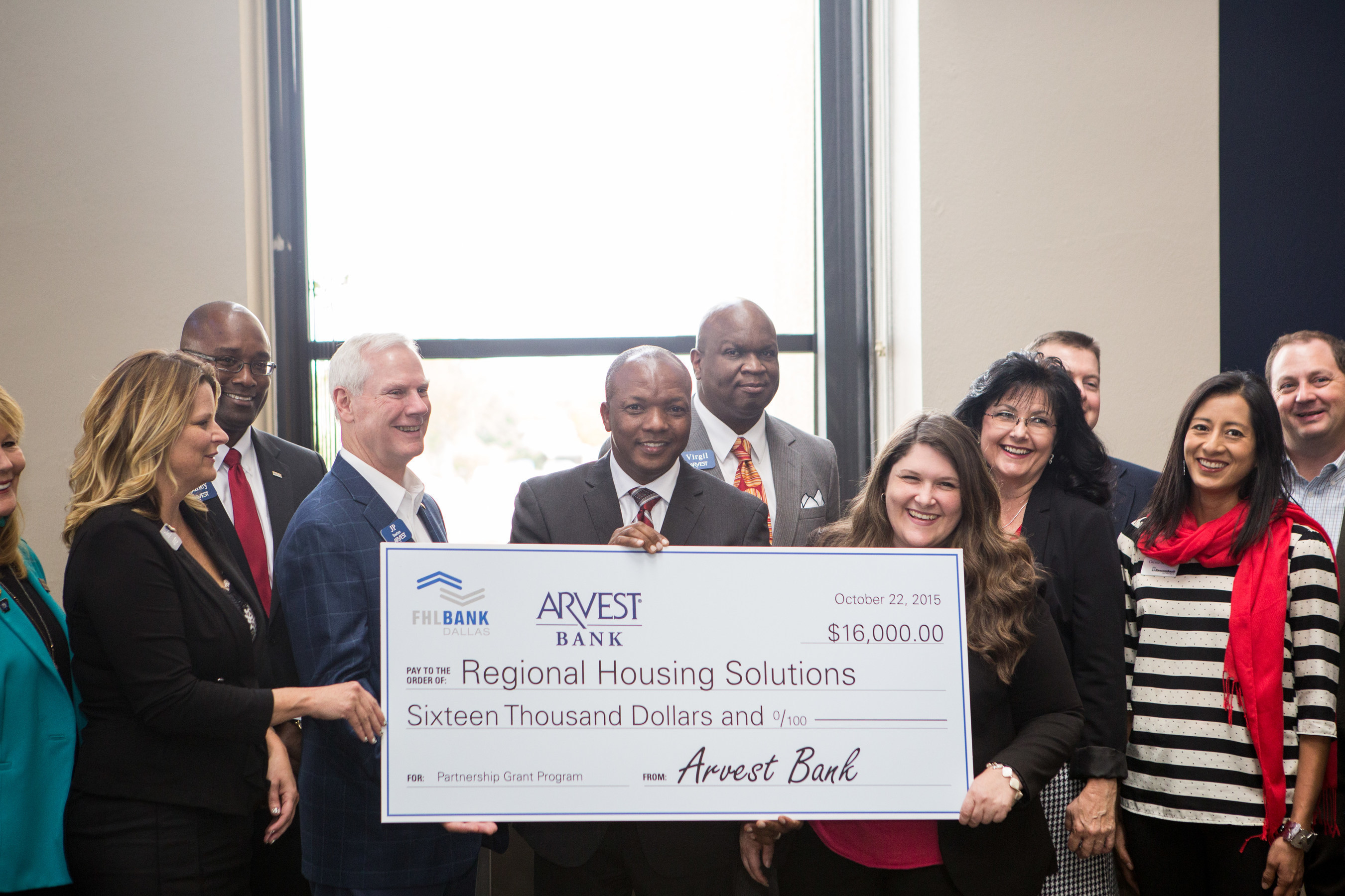The nonprofit Regional Housing Solutions received a $16,000 Partnership Grant Program (PGP) award on October 22, 2015, from Arvest Bank and the Federal Home Loan Bank of Dallas (FHLB Dallas). The funds will be used to build organizational capacity, allowing the nonprofit to develop future housing projects for low- to moderate-income families.