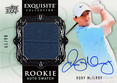 Upper Deck's 2014 Exquisite Collection Autograph Rookie Patch Card of Rory McIlroy will be his most premium card of the year and experts anticipate it will trade for well over $1000. Golf fans will be searching desperately to add this card to their collection when 2014 Exquisite Collection Golf arrives in stores on July 29! (PRNewsFoto/Upper Deck)
