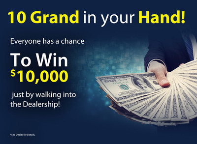 """The """"10 Grand in Your Hand"""" promotion is going on now at Kearns Motor Car Co. (PRNewsFoto/Kearns Motor Car Co.)"""