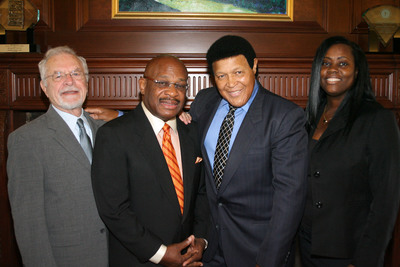 Attorney Robert Parenti (far left), Attorney Willie E. Gary (second from left), Chubby Checker (second from right), Attorney Alicia M. Phidd (far right).  (PRNewsFoto/Gary, Williams, Parenti, Watson & Gary, P.L.)