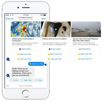 The Weather Channel bot for Messenger