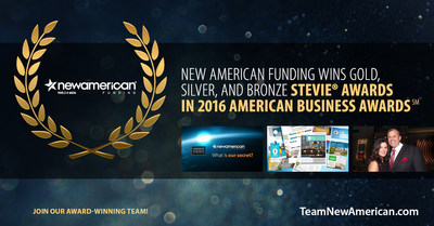 New American Funding Wins Gold, Silver, and Bronze Stevie(R) Awards in 2016 American Business Awards.