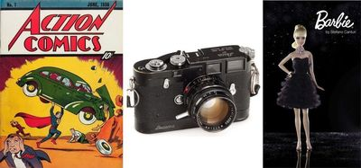 """World's 1st and most expensive Comic Magazine, 1938. The most expensive """"Leica Camera"""", 1955 ever sold! The most expensive ever """"Barbie Doll"""", 1999 (PRNewsFoto/AuctionTeamBreker)"""