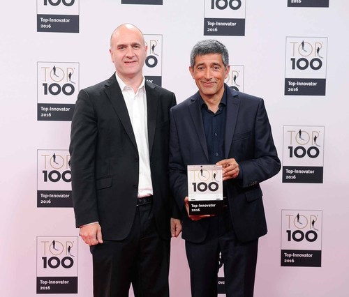 Photo: GEZE GmbH. Gala event to honour the companies which are the Top 100 Innovators of 2016: The science journalist Ranga Yogeshwar hands the Top 100 Innovator certificate to  Florian Birkenmayer, Managing Director Development GEZE GmbH Germany (PRNewsFoto/GEZE)