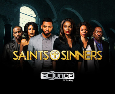 """Bounce TV has renewed the smash hit drama series Saints & Sinners for a second season. Just two episodes of season one are left: Sunday, April 17 at 9:00 p.m. ET/PT and the first season finale - which will answer the question """"whodunit?"""" - April 24 at 9:00 p.m. ET/PT Bounce TV has also renewed the popular sitcoms Mann & Wife (Current season airing Tuesday nights at 9:00 p.m. ET/PT), In The Cut and Family Time.  Visit BounceTV.com for local channel information."""