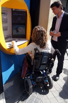 "Technosite and ""la Caixa"" have developed a new solution to overcome accessibility barriers to ATMs (PRNewsFoto/Technosite and la Caixa)"