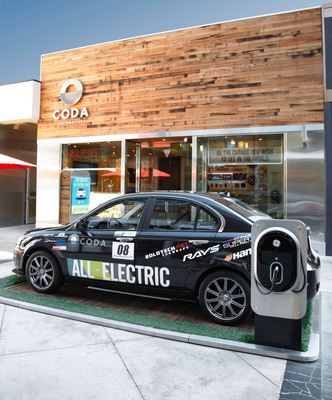 A 2012 CODA and GE WattStation Wall-Mount Charger are featured in front of the CODA Experience Center at the Westfield Century City Mall in Los Angeles.  (PRNewsFoto/CODA Automotive)