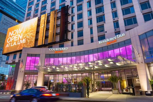 Courtyard and Residence Inn L.A. LIVE Hotel Exterior (PRNewsFoto/Marriott International, Inc.)