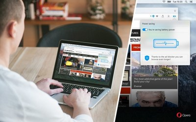 """New """"Power Saving Mode"""" Added to Opera's Browser for Computers, Extending Laptop Battery Life by up to 50% (PRNewsFoto/Opera Software AS)"""
