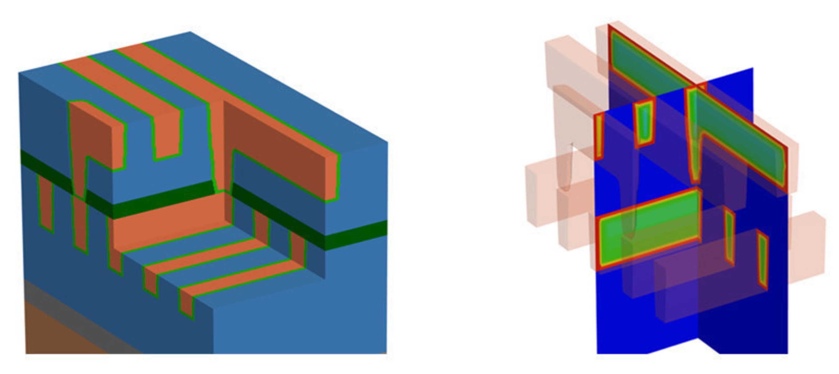 Image: 3D model of a multilayer interconnect stack (a) after process emulations using the Synopsys Sentaurus(TM) Process Explorer and 3D local resistivity profile (b) within wires and vias