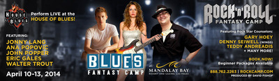 Blues Fantasy Camp featuring Jonny Lang, Ana Popovic, John Popper (Blues Traveler), Eric Gales, and Walter Trout.(PRNewsFoto/Rock 'n' Roll Fantasy Camp)