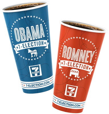 7-Eleven hot beverage customers can vote for their presidential choice in the company's 7-Election campaign now through Election Day by choosing either of these cups or the non-committal regular version.  (PRNewsFoto/7-Eleven, Inc.)