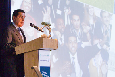 H.E. Nassir Abdulaziz Al-Nasser, High Representative of the UN Alliance of Civilizations, welcomes 100 youth from more than 90 countries to the UNAOC - EF Summer School.  (PRNewsFoto/EF Education First)