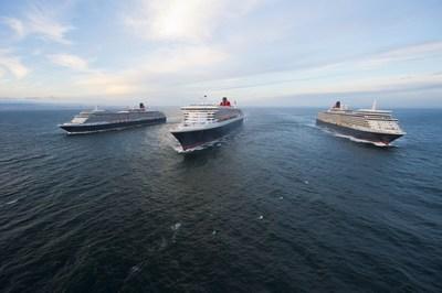Cunard's Three Queens, Queen Victoria, Queen Mary 2 and Queen Elizabeth. Photo credit: James Morgan