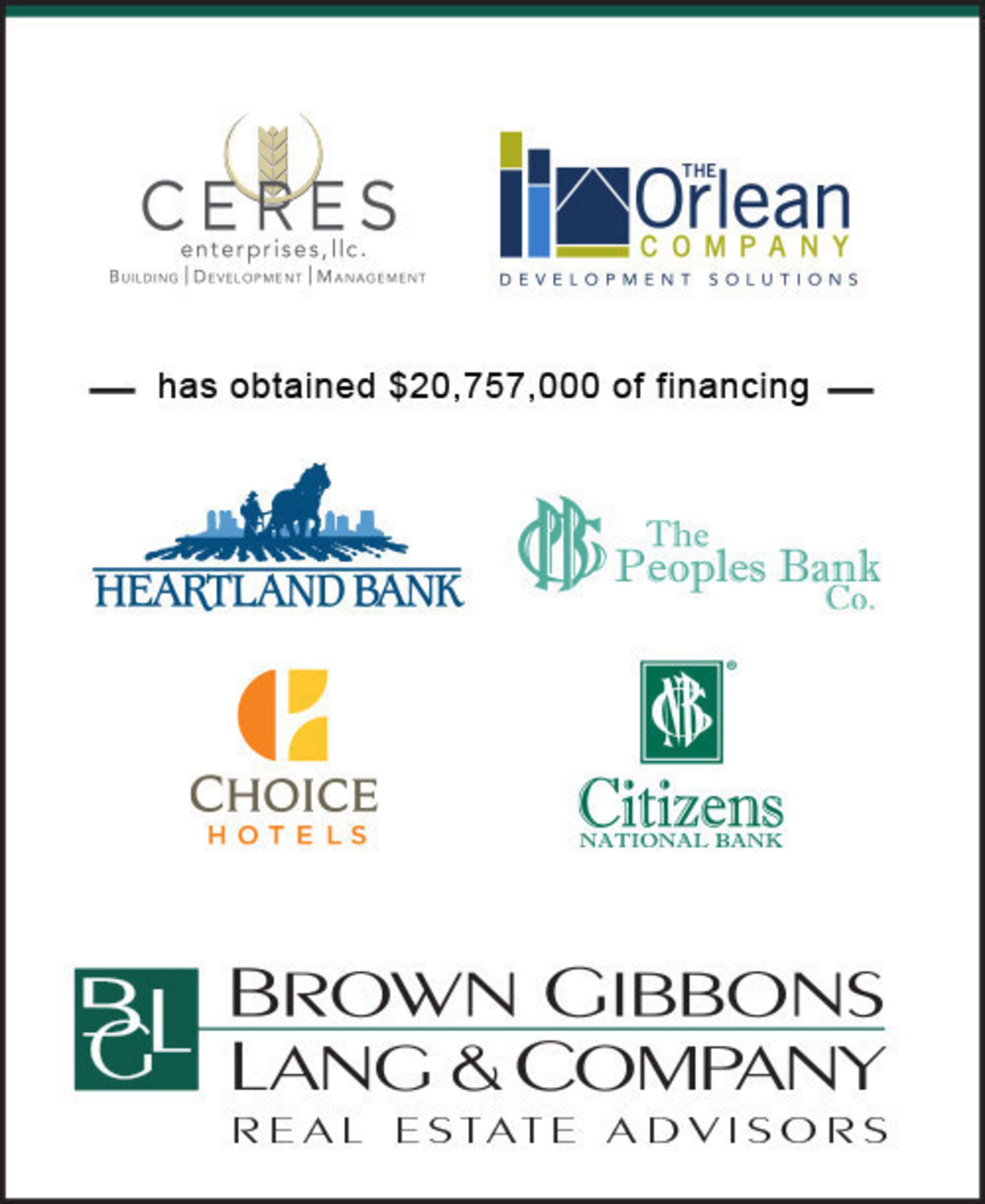 BGL Real Estate Advisors LLC is pleased to announce the successful completion of development financing for Ceres Enterprises LLC and The Orlean Company.  The capital structure will support the third development of Choice Hotel's new limited service brand in Westfield, Indiana, joining properties in Noblesville, Indiana and Avon, Ohio.