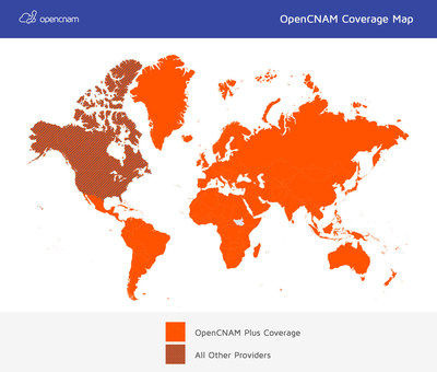 OpenCNAM Plus Coverage Area vs. All Other Caller ID Providers - View More Details at //www.OpenCNAM.com